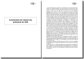 Alinéa 9 du préambule de 1946 - la nationalisation d'entreprises