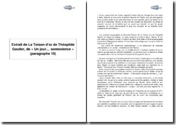 Extrait de La Toison d'or de Théophile Gautier, de « Un jour... somnolence » (paragraphe 10)