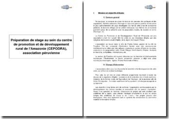 Préparation de stage au sein du centre de promotion et de développement rural de l'Amazonie (CEPODRA), association péruvienne