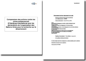Comparaison des actions contre les mines antipersonnel d'Handicap International avec les déclarations de l'Organisation des Nations-Unies pour la recherche sur le désarmement