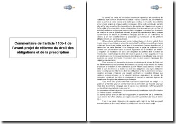 Article 1106-1 de l'avant-projet de réforme du droit des obligations et de la prescription
