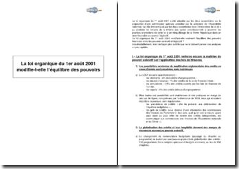 La loi organique du 1er août 2001 modifie-t-elle l'équilibre des pouvoirs ?