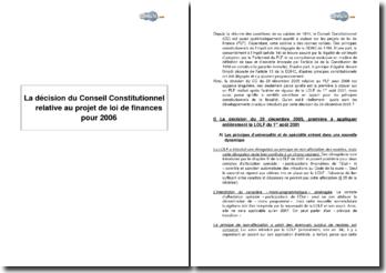 La décision du Conseil Constitutionnel relative au projet de loi de finances pour 2006