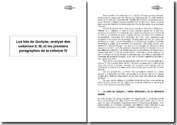 Les lois de Gortyne, analyse des colonnes II, III, et les premiers paragraphes de la colonne IV