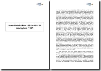 Jean-Marie Le Pen : déclaration de candidature (1987)