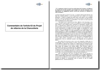 Article 63 du Projet de réforme de la Chancellerie - la violence comme vice de consentement dans les contrats