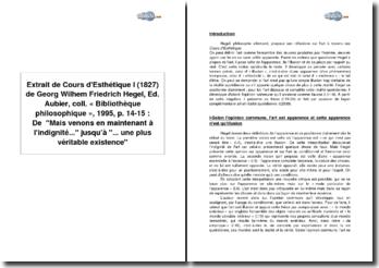 Extrait de Cours d'Esthétique I (1827) de Georg Wilhem Friedrich Hegel, Ed. Aubier, coll. « Bibliothèque philosophique », 1995, p. 14-15 de Mais venons en maintenant à l'indignité... jusqu'à ... une plus véritable existence
