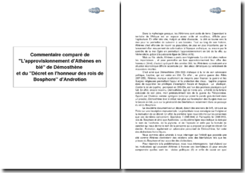 Comparaison de L'approvisionnement d'Athènes en blé de Démosthène et du Décret en l'honneur des rois de Bosphore d'Androtion