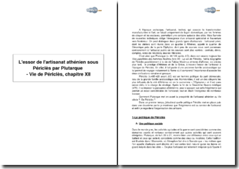 L'essor de l'artisanat athénien sous Périclès par Plutarque in Vie de Périclès, XII