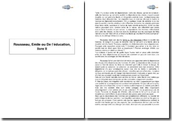 Rousseau, Emile ou De l'éducation, livre II
