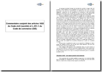 Comparaison des articles 1832 du Code civil sur les sociétés et L.251-1 du Code de commerce sur les Groupements d'Intérêt Economiques (GIE)