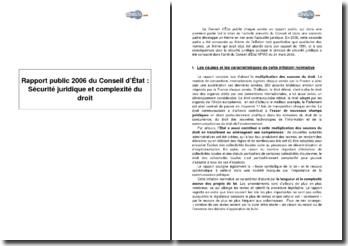Rapport public 2006 du Conseil d'État : Sécurité juridique et complexité du droit