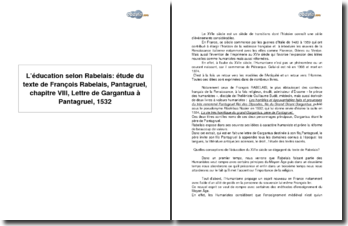 L'éducation selon François Rabelais : Pantagruel, chapitre VIII, Lettre de Gargantua à Pantagruel, 1532