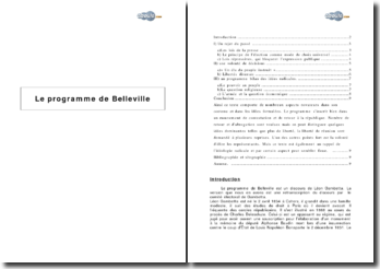 Le programme de Belleville, rejet du passé et volonté de décision