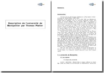 Description de l'université de Montpellier par Thomas Platter