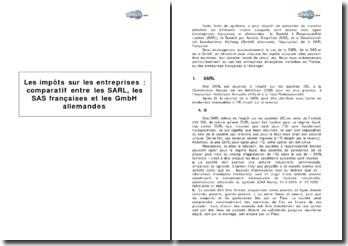 Les impôts sur les entreprises : comparatif entre les SARL, les SAS françaises et les GmbH allemandes