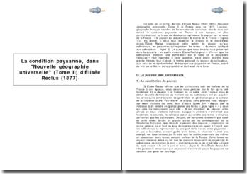 La condition paysanne, dans Nouvelle géographie universelle (Tome II) d'Elisée Reclus (1877)