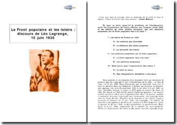 Le Front populaire et les loisirs (discours de Léo Lagrange, 10 juin 1936)