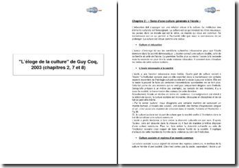 L'éloge de la culture de Guy Coq, 2003 - chapitres 2, 7 et 8