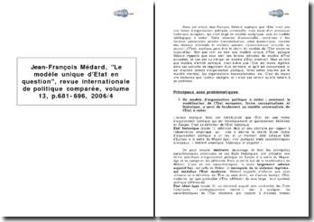 Jean-François Médard, Le modèle unique d'Etat en question, Revue internationale de politique comparée, volume 13, p.681-696, 2006/4