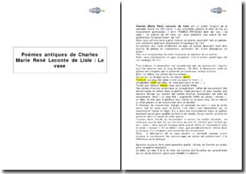 Poèmes antiques de Charles Marie René Leconte de Lisle : étude du poème Le vase