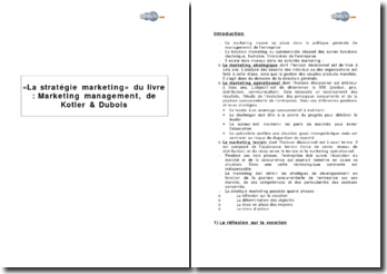« La stratégie marketing » du livre, extrait de Marketing management, de Kotler & Dubois
