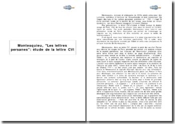 Montesquieu, Les Lettres Persanes : étude de la lettre CVI