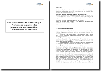 Les Misérables de Victor Hugo. Réflexions à partir des jugements de Lamartine, Baudelaire et Flaubert