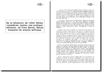 De la réfutation de l'effet Nimby considérée comme une pratique militante, de Trom Danny, Revue française de science politique