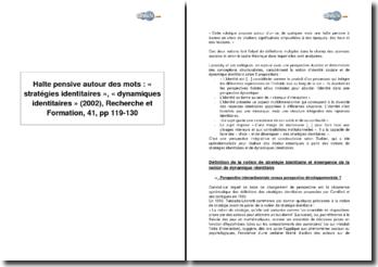 Halte pensive autour des mots : « stratégies identitaires », « dynamiques identitaires », (2002), Recherche et Formation, 41, pp 119-130