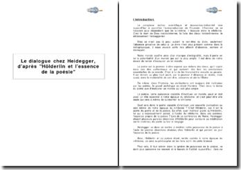 Le dialogue chez Heidegger, d'après Hölderlin et l'essence de la poésie