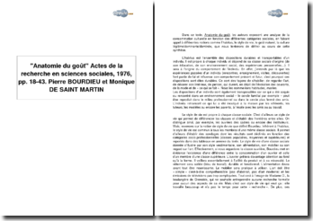 Anatomie du goût, Actes de la recherche en sciences sociales, 1976, pp. 18-43 - Pierre Bourdieu et Monique de Saint-Martin