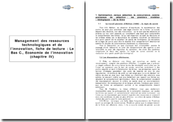 Management des ressources technologiques et de l'innovation : Christian Le Bas, Economie de l'innovation (chapitre IV)