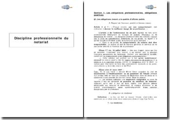Discipline professionnelle du notariat