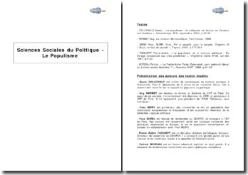 Sciences sociales du politique - Le populisme