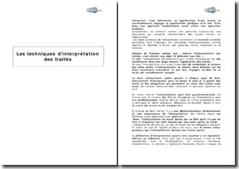 Les techniques d'interprétation des traités