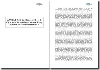 Article 146 du Code civil : « Il n'y a pas de mariage lorsqu'il n'y a point de consentement »