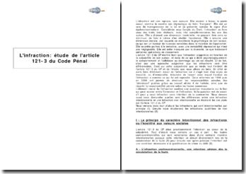 L'infraction : étude de l'article 121-3 du Code Pénal