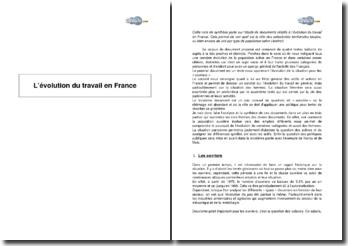 L'évolution du travail en France - note de synthèse