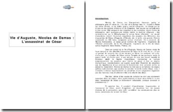 Vie d'Auguste, Nicolas de Damas : L'assassinat de César