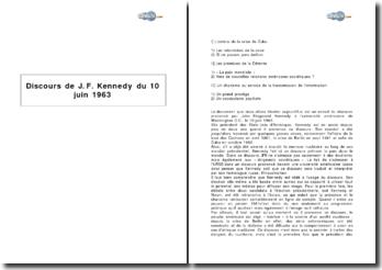 Discours de J. F. Kennedy du 10 juin 1963