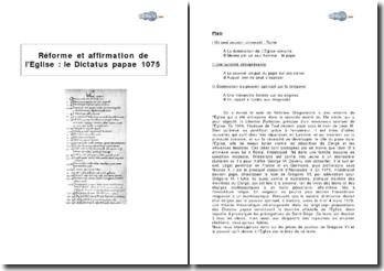 Réforme et affirmation de l'Eglise : le Dictatus papae, 1075