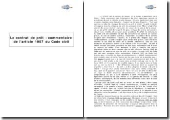 Le contrat de prêt : l'article 1907 du Code civil