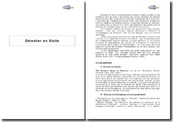 Le culte de Déméter en Sicile : bibliographie