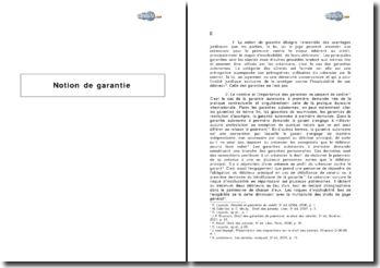 Notion de garantie