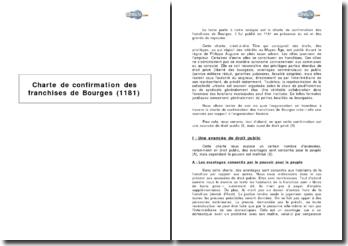 Charte de confirmation des franchises de Bourges (1181)