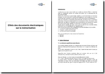 Effets des documents électroniques sur la mémorisation