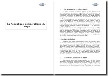 La République démocratique du Congo : de la naissance à la crise de 2003
