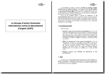 Le Groupe d'action financière international contre le blanchiment d'argent (GAFI)