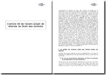 L'article 63 de l'avant-projet de réforme du droit des contrats : la notion de violence